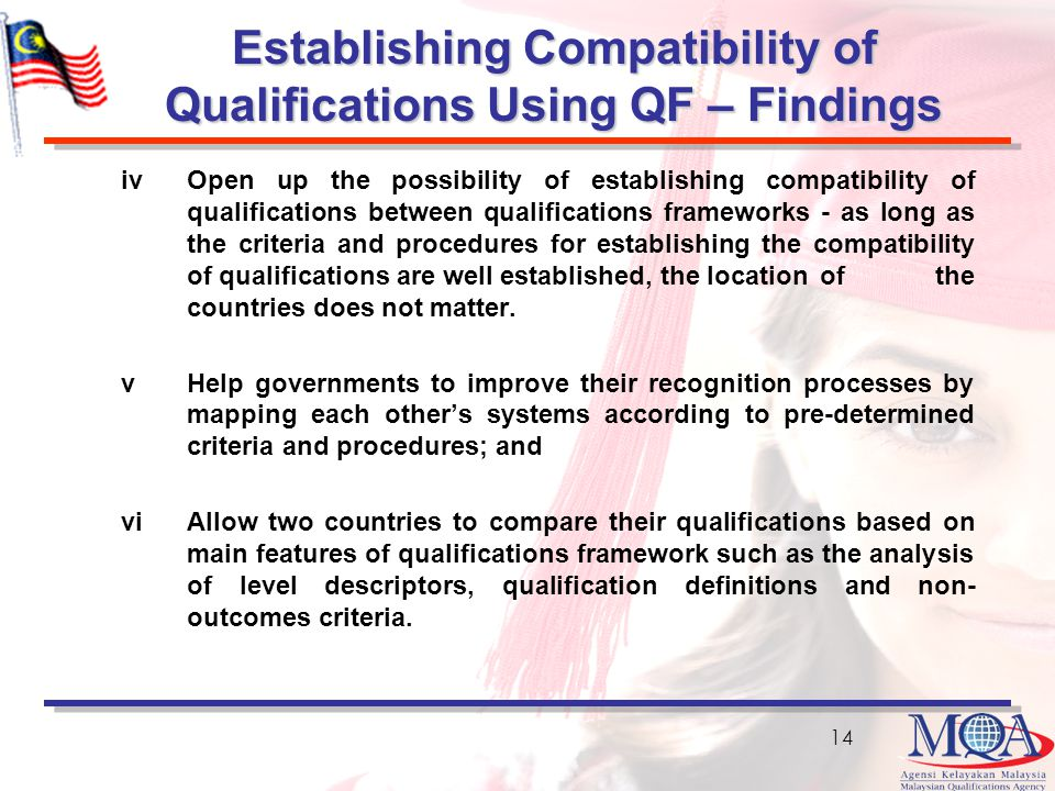 Establishing Compatibility of Qualifications Using QF – Findings