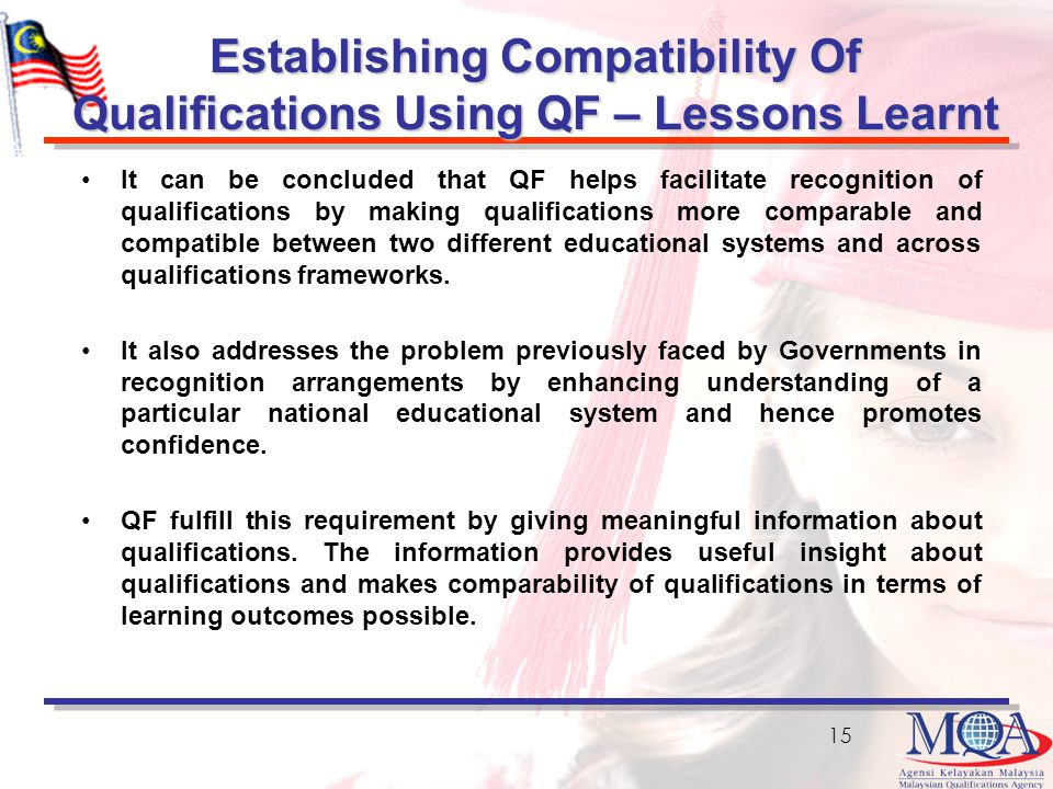 Establishing Compatibility Of Qualifications Using QF – Lessons Learnt