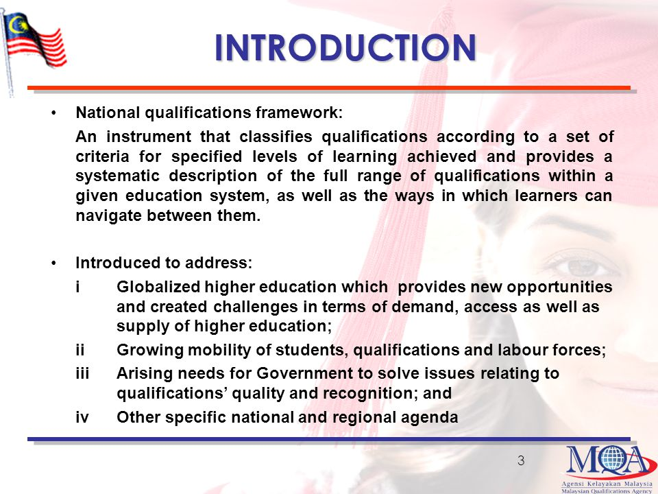 INTRODUCTION National qualifications framework: