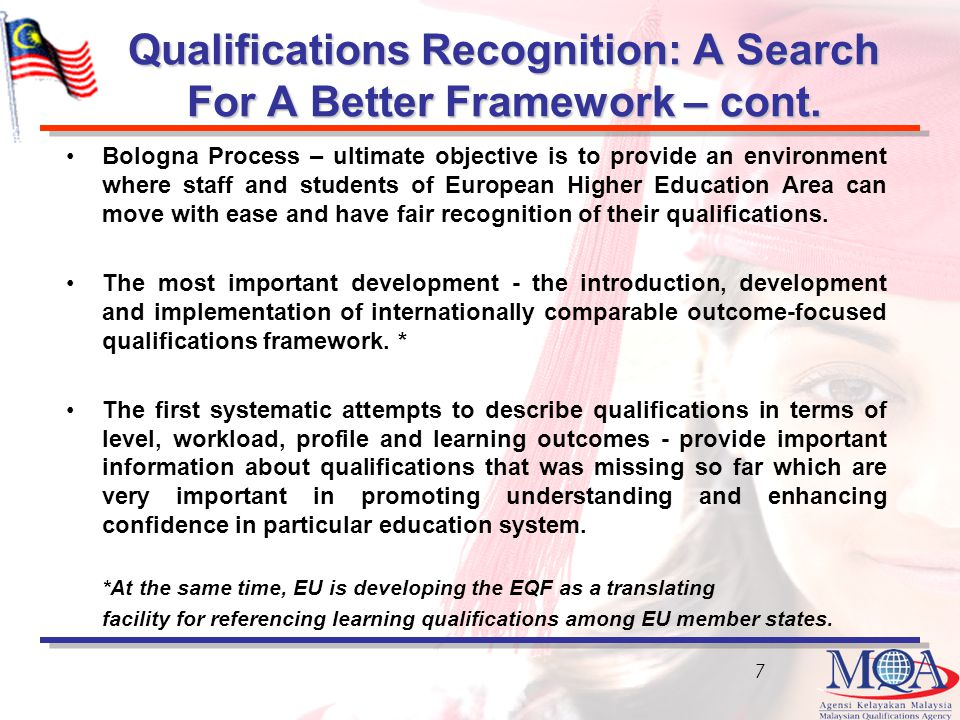 Qualifications Recognition: A Search For A Better Framework – cont.
