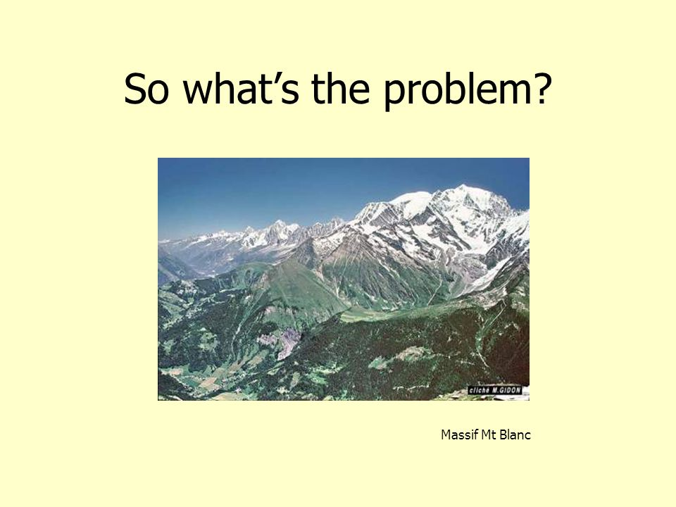 So what's the problem Massif Mt Blanc