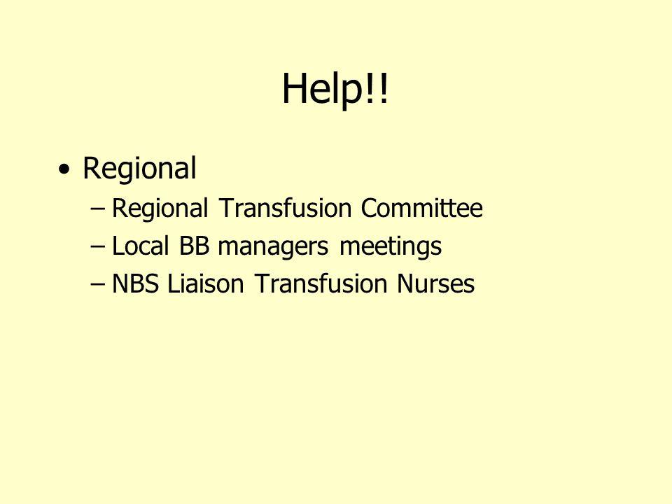 Help!! Regional Regional Transfusion Committee