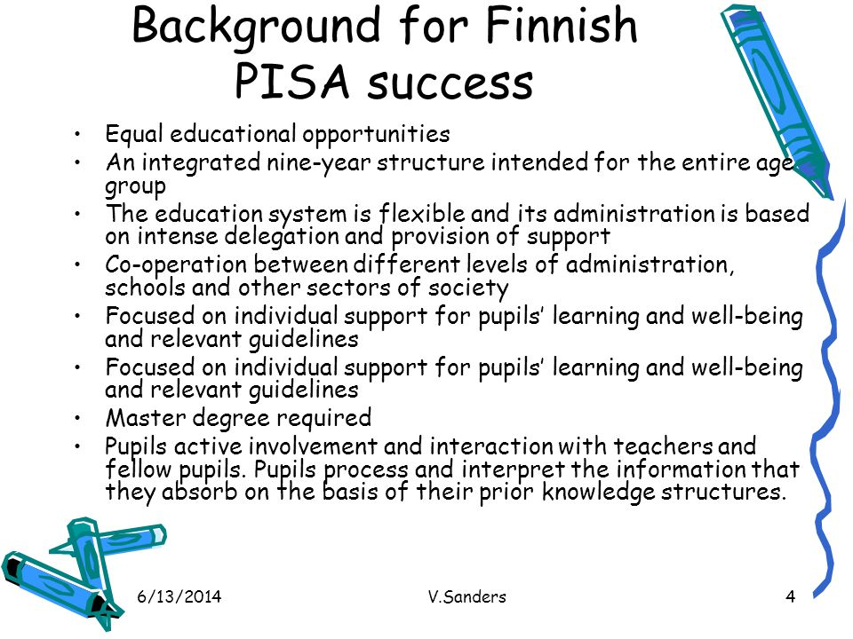 Background for Finnish PISA success