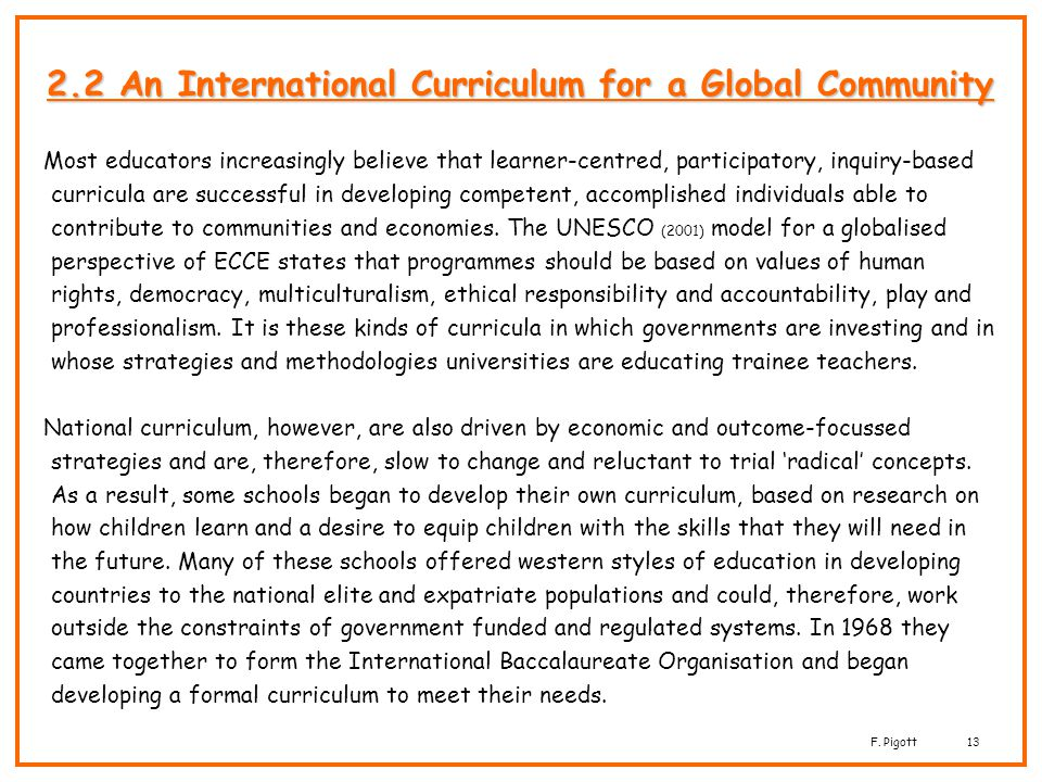 2.2 An International Curriculum for a Global Community