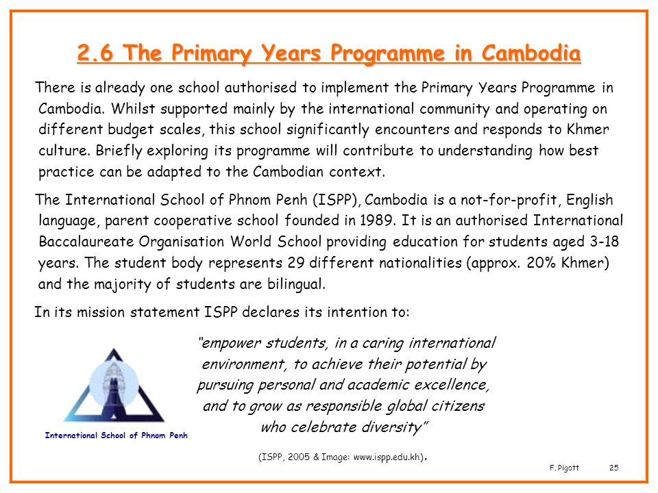 2.6 The Primary Years Programme in Cambodia