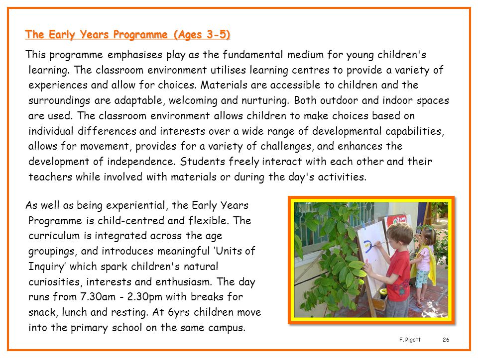 The Early Years Programme (Ages 3-5)