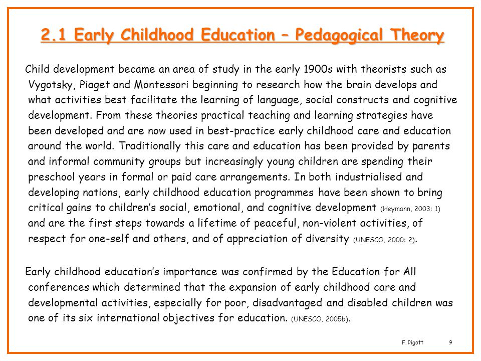 2.1 Early Childhood Education – Pedagogical Theory