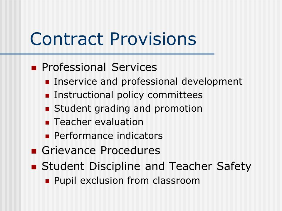Contract Provisions Professional Services Grievance Procedures
