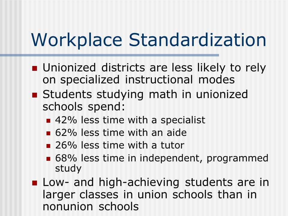 Workplace Standardization