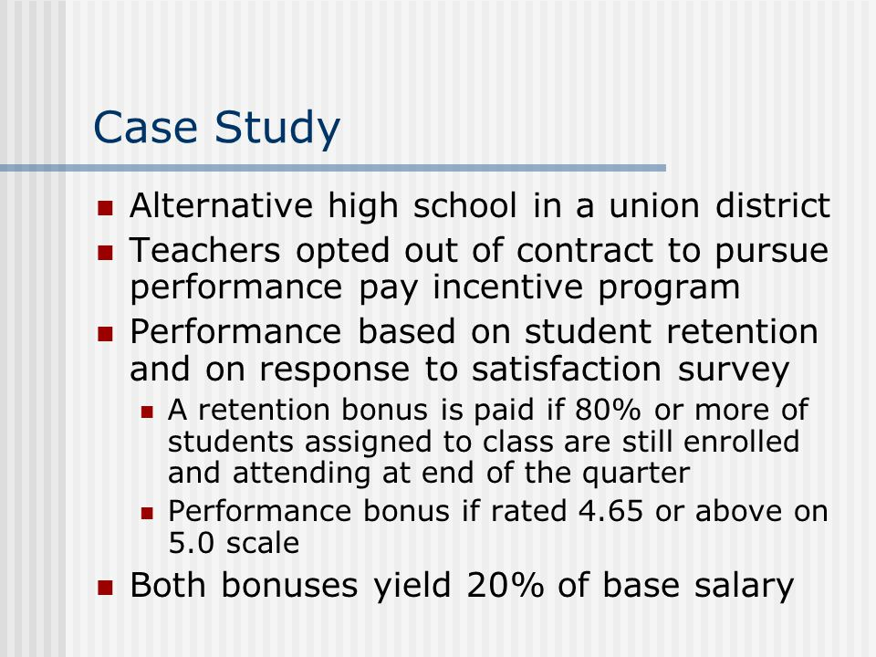 Case Study Alternative high school in a union district