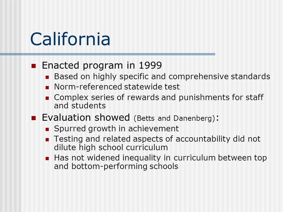 California Enacted program in 1999