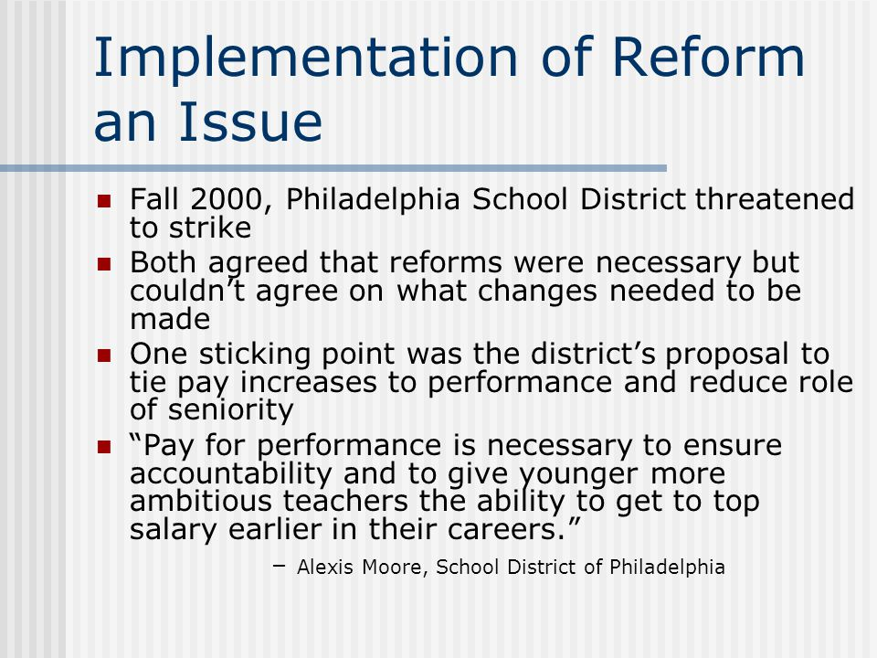 Implementation of Reform an Issue