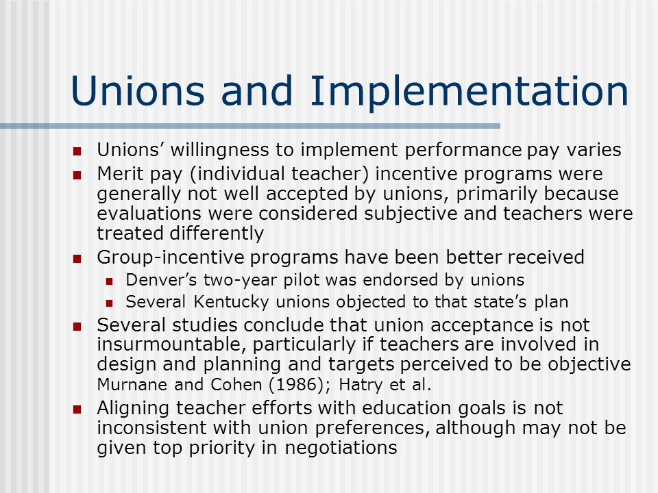 Unions and Implementation