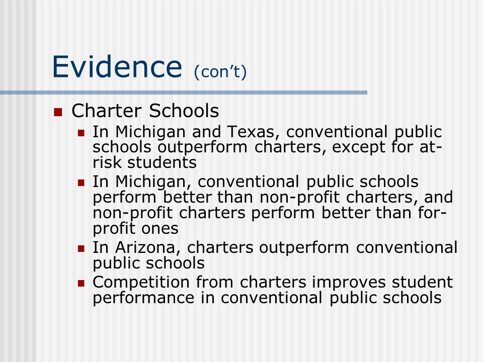 Evidence (con't) Charter Schools