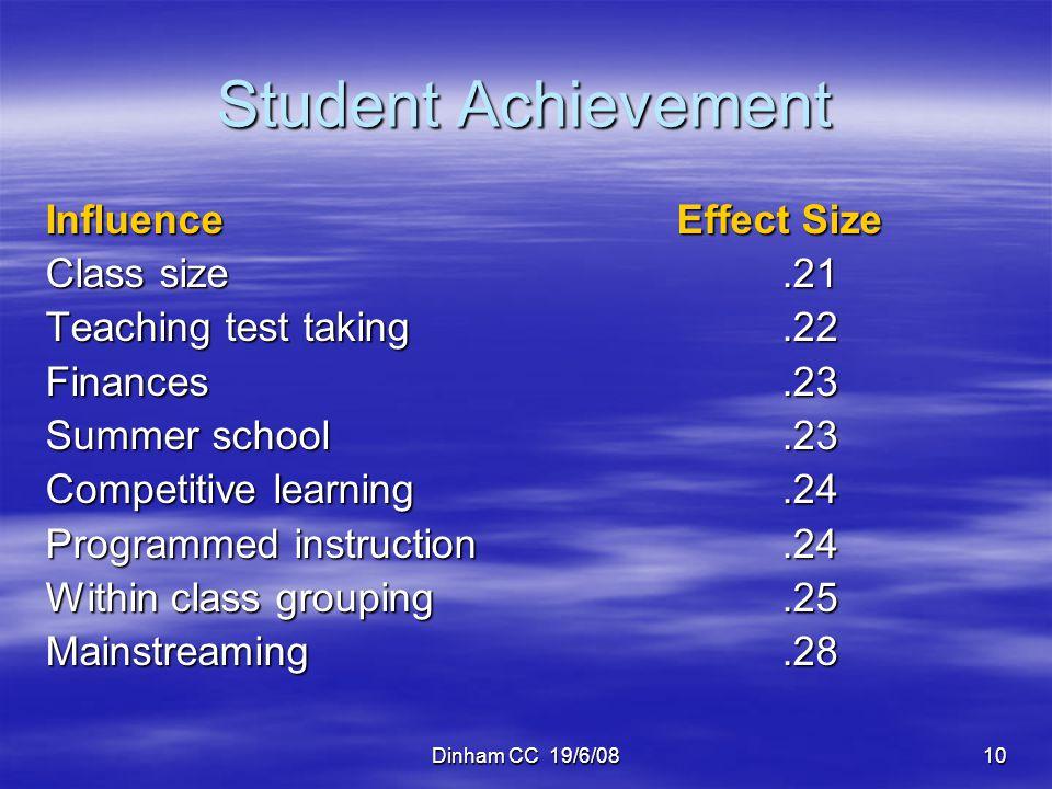 Student Achievement Influence Effect Size Class size .21
