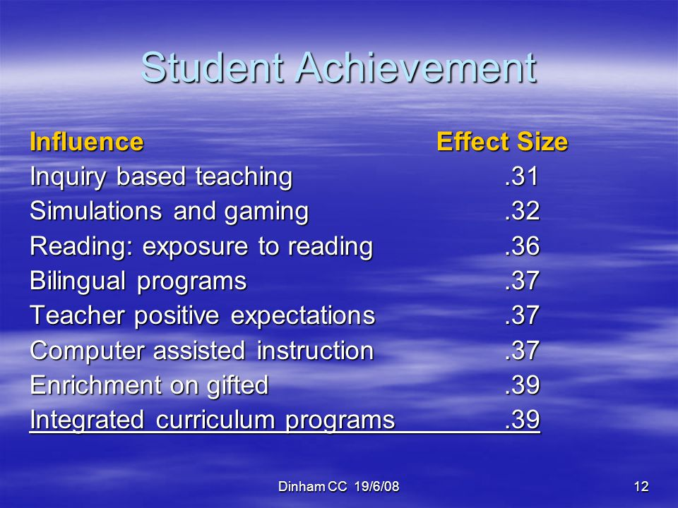 Student Achievement Influence Effect Size Inquiry based teaching .31
