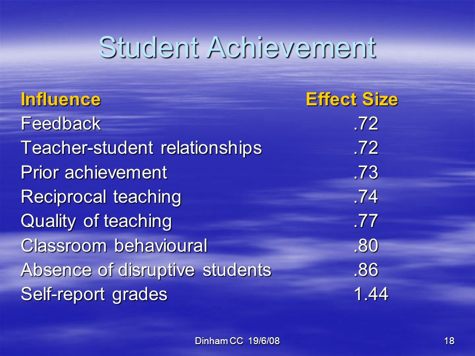 Student Achievement Influence Effect Size Feedback .72