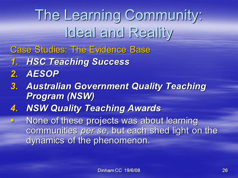 The Learning Community: Ideal and Reality