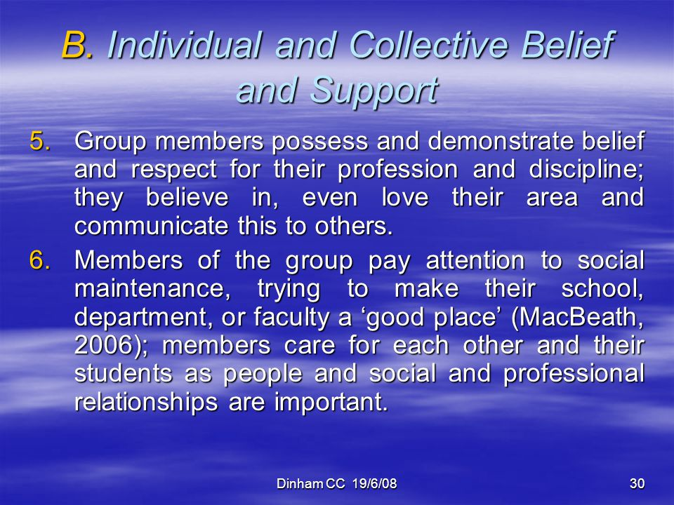 B. Individual and Collective Belief and Support