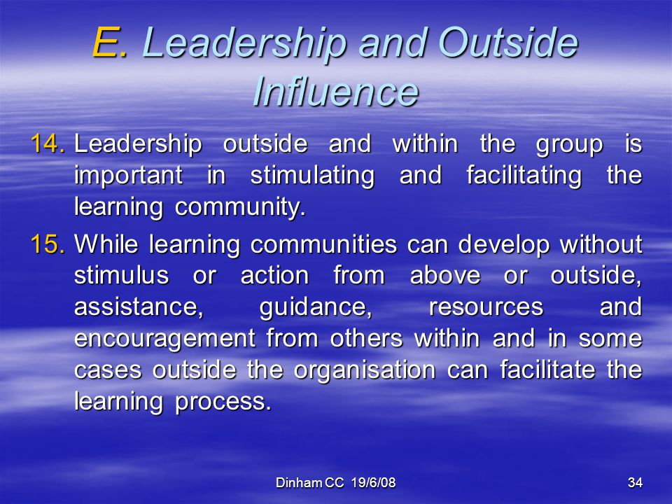 E. Leadership and Outside Influence
