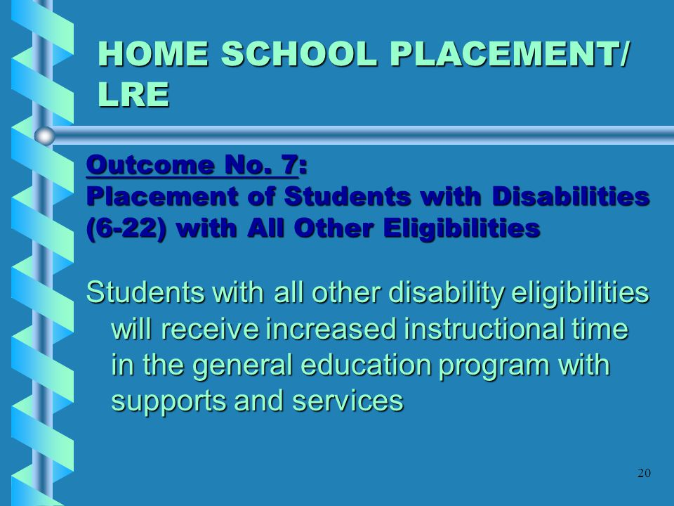 HOME SCHOOL PLACEMENT/ LRE