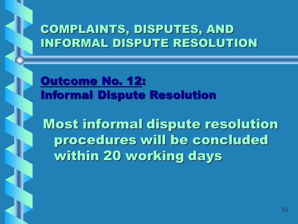 COMPLAINTS, DISPUTES, AND INFORMAL DISPUTE RESOLUTION