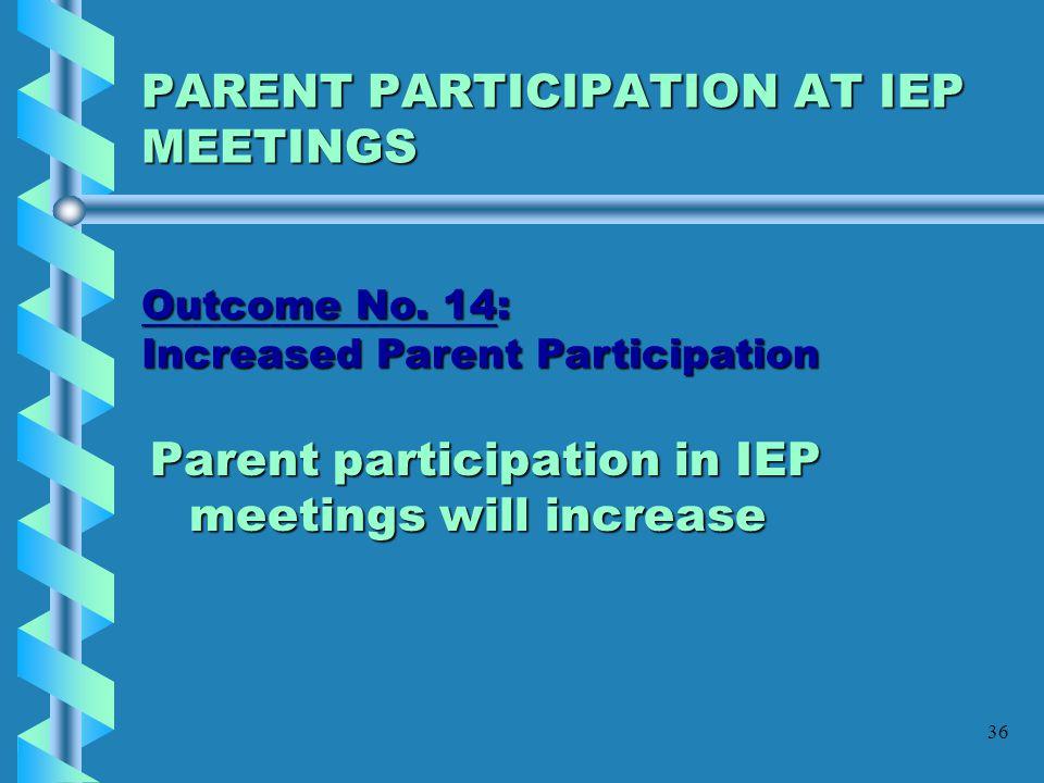 PARENT PARTICIPATION AT IEP MEETINGS