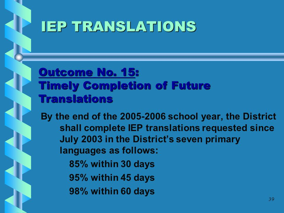 IEP TRANSLATIONS Outcome No. 15: Timely Completion of Future Translations.