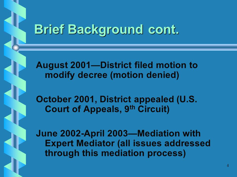Brief Background cont. August 2001—District filed motion to modify decree (motion denied)