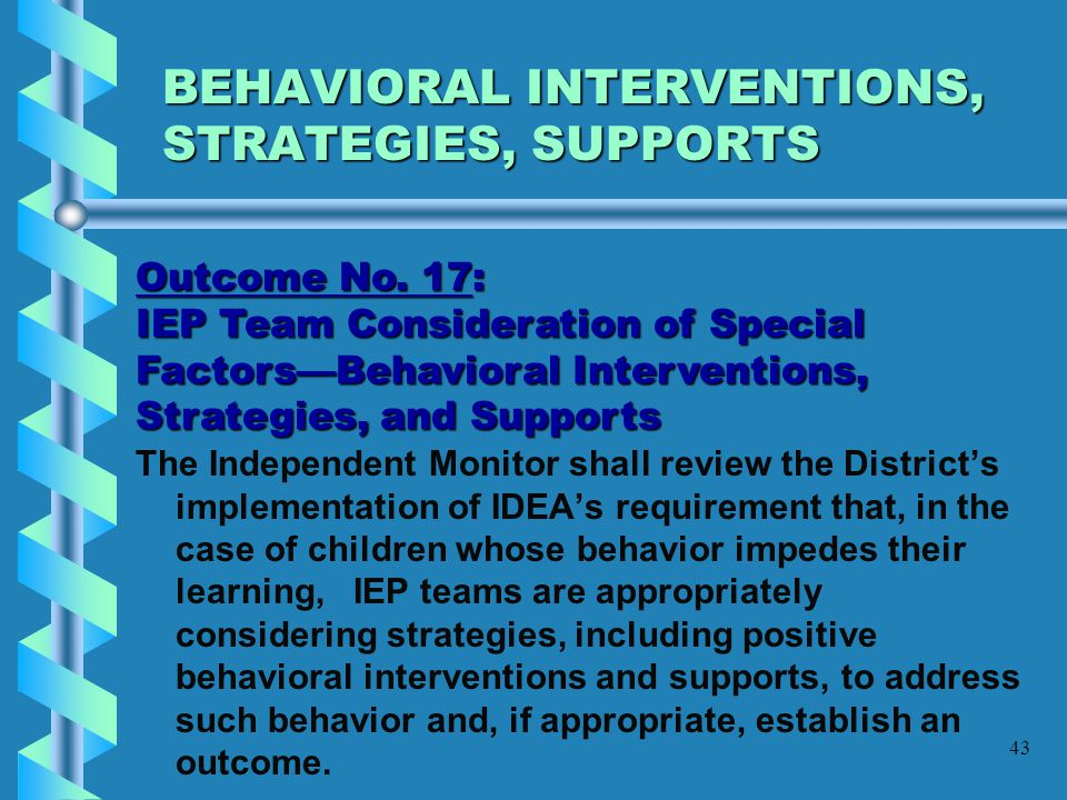 BEHAVIORAL INTERVENTIONS, STRATEGIES, SUPPORTS