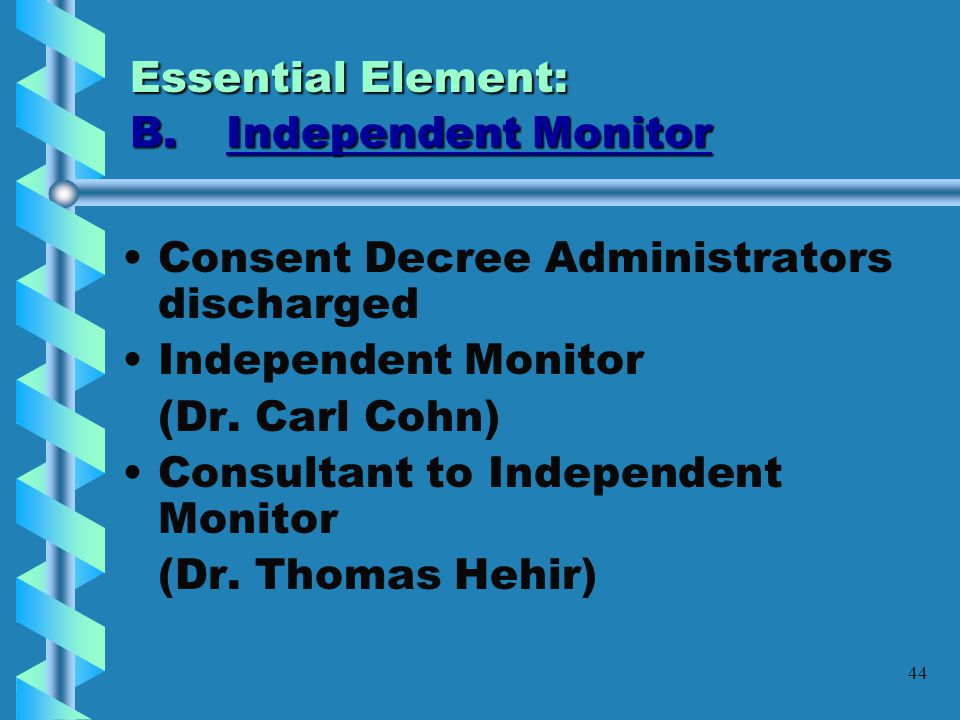 Essential Element: B. Independent Monitor