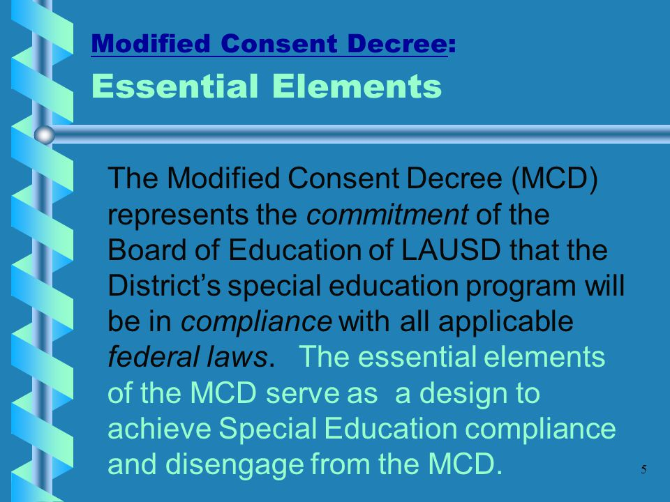 Modified Consent Decree: Essential Elements