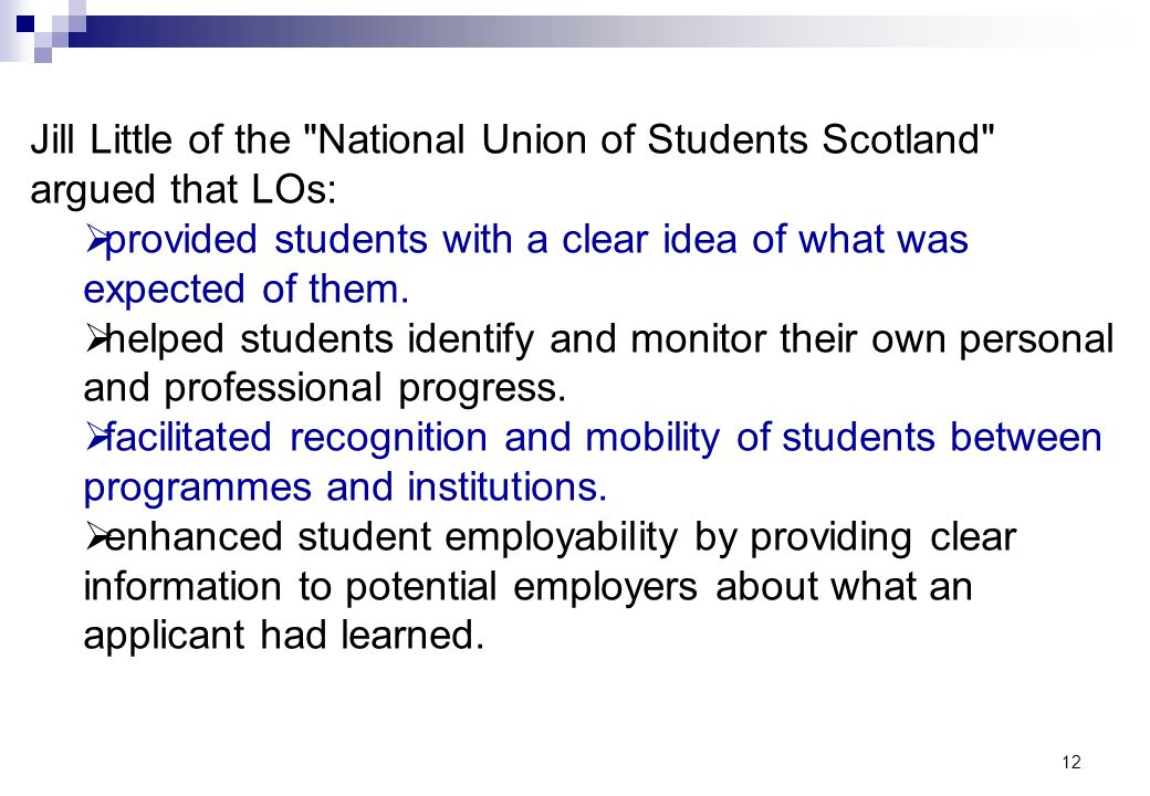 Jill Little of the National Union of Students Scotland argued that LOs: