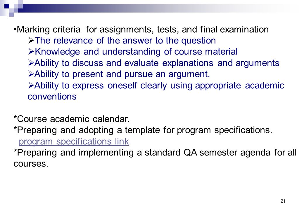 Marking criteria for assignments, tests, and final examination
