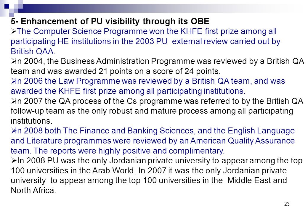 5- Enhancement of PU visibility through its OBE