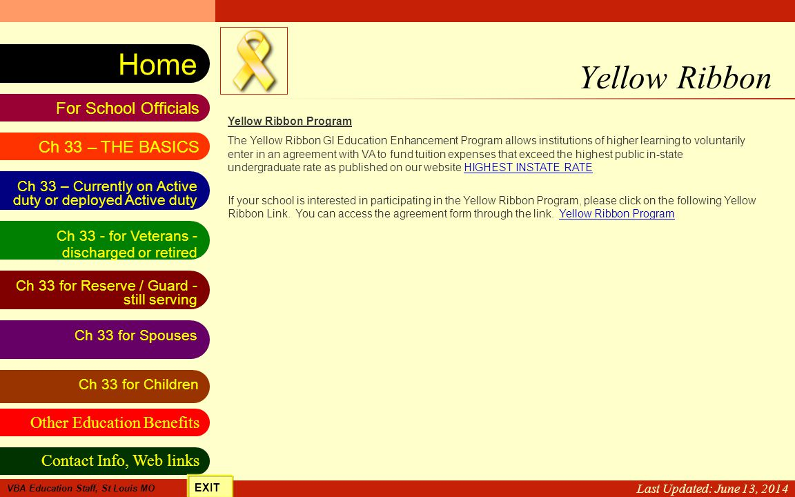 Yellow Ribbon Last Updated: April 2, 2017 Yellow Ribbon Program