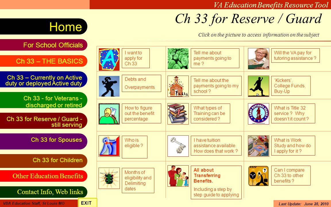 Ch 33 for Reserve / Guard Click on the picture to access information on the subject. I want to apply for Ch 33.