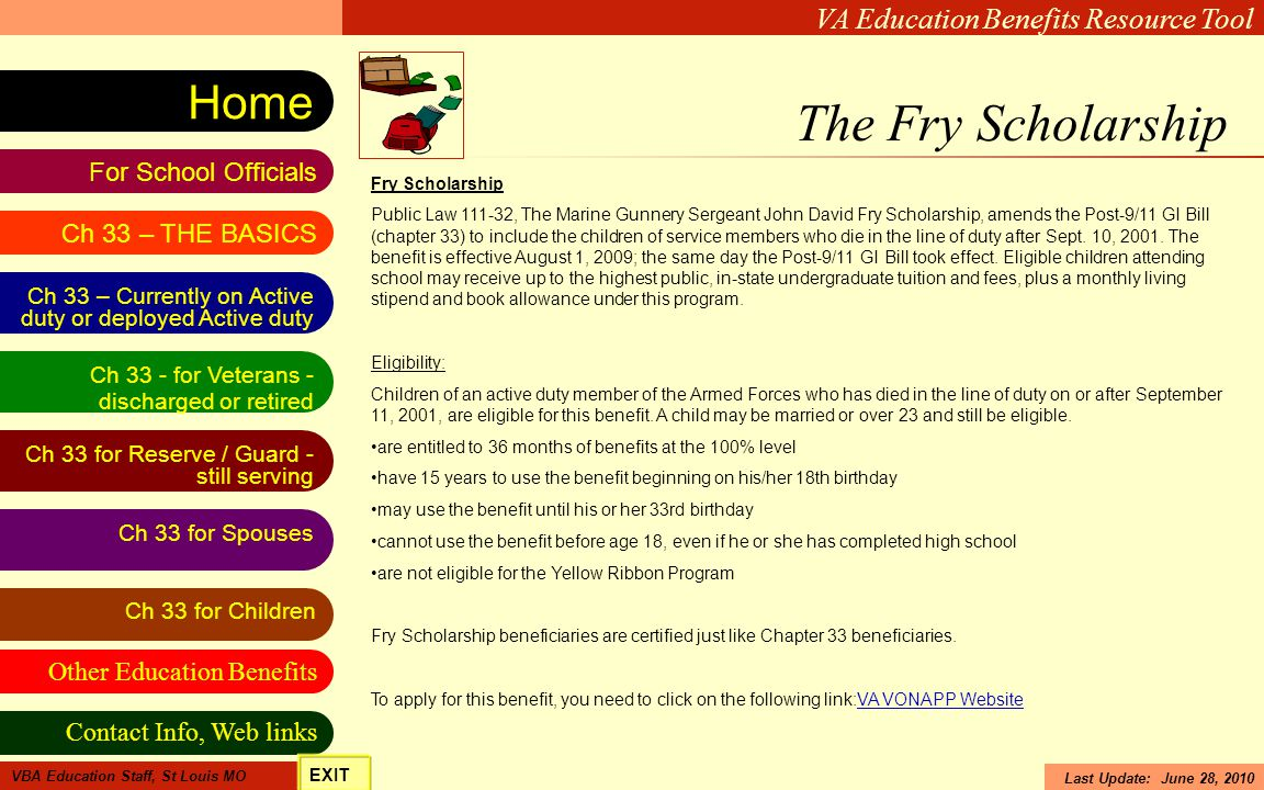 The Fry Scholarship Fry Scholarship