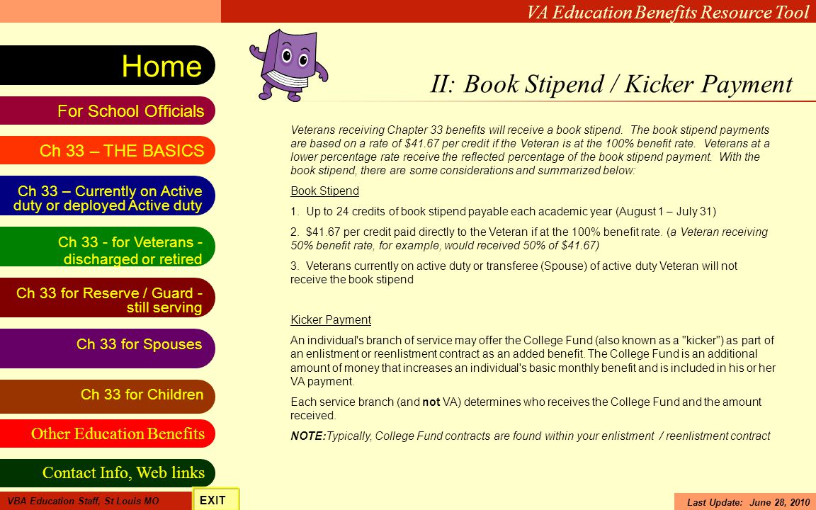 II: Book Stipend / Kicker Payment