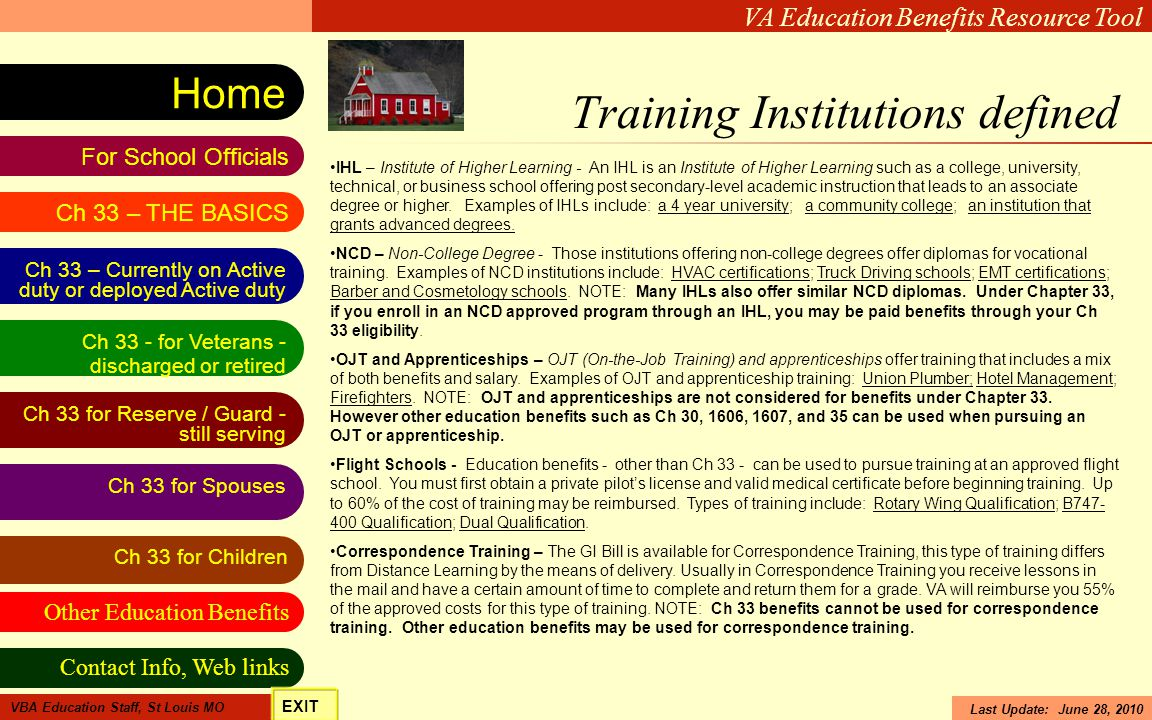 Training Institutions defined