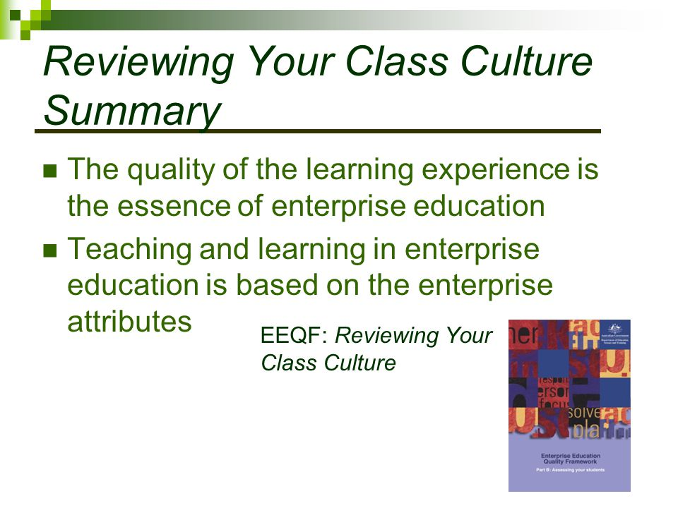 Reviewing Your Class Culture Summary