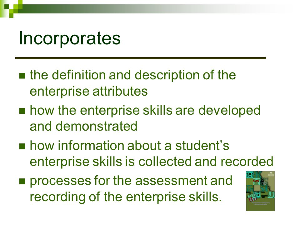 Incorporates the definition and description of the enterprise attributes. how the enterprise skills are developed and demonstrated.