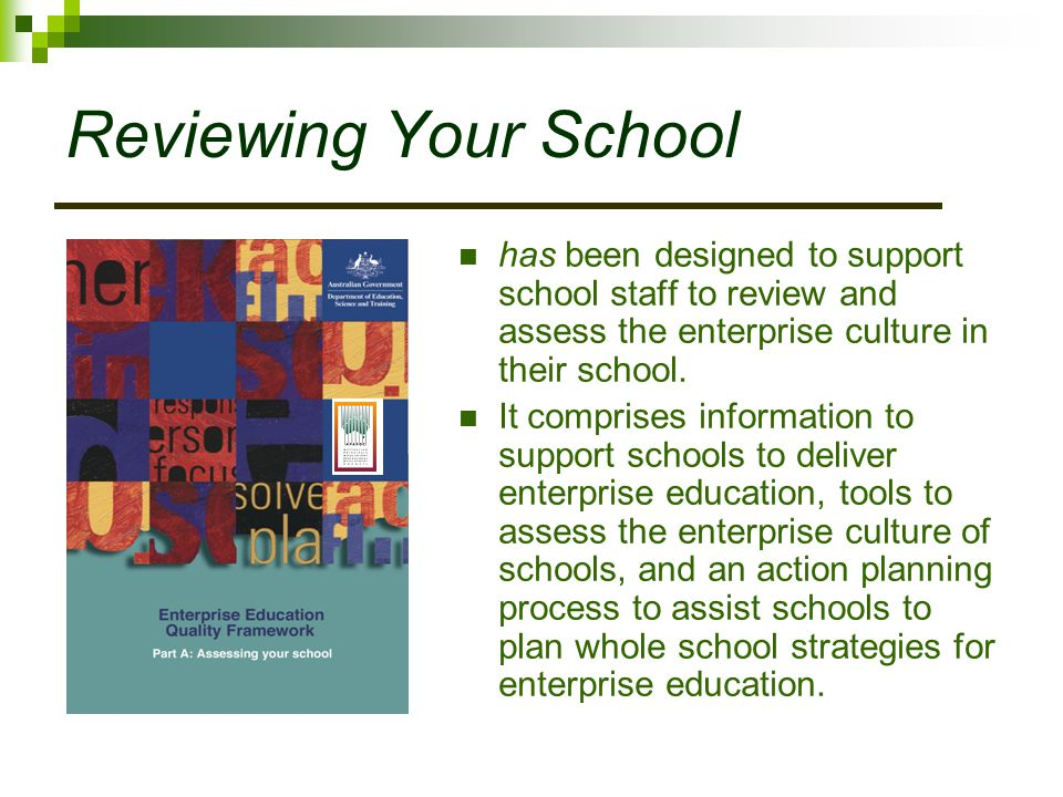 Reviewing Your School has been designed to support school staff to review and assess the enterprise culture in their school.