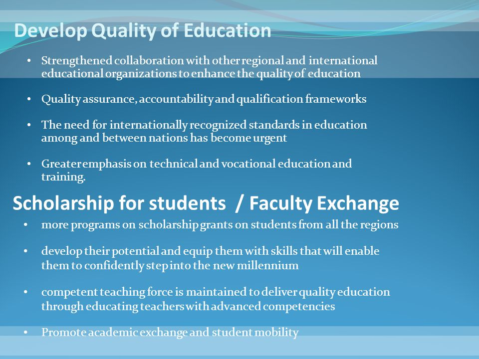 Develop Quality of Education