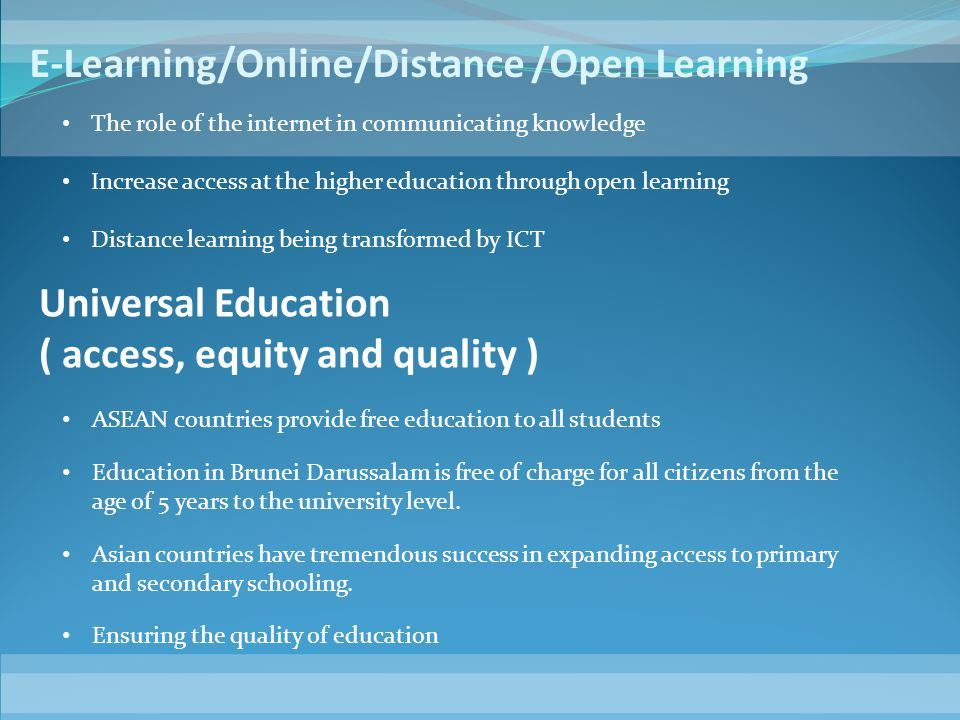 E-Learning/Online/Distance /Open Learning