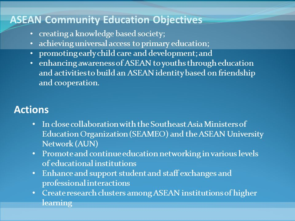 ASEAN Community Education Objectives