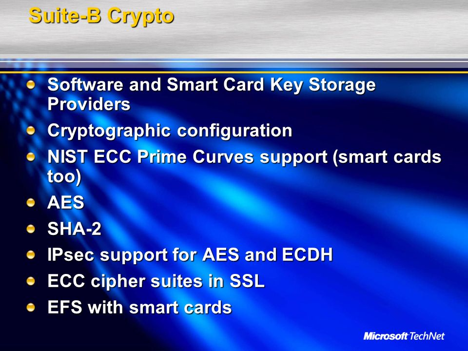 Suite-B Crypto Software and Smart Card Key Storage Providers