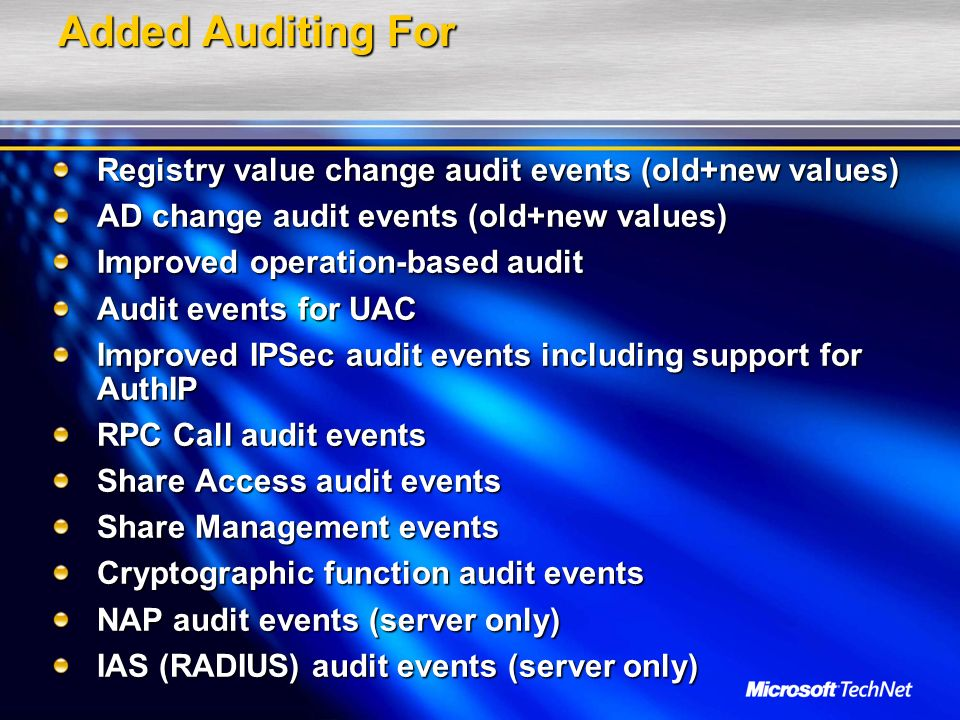 Added Auditing For Registry value change audit events (old+new values)