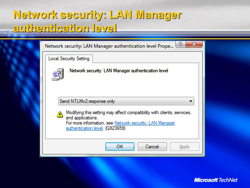 Network security: LAN Manager authentication level