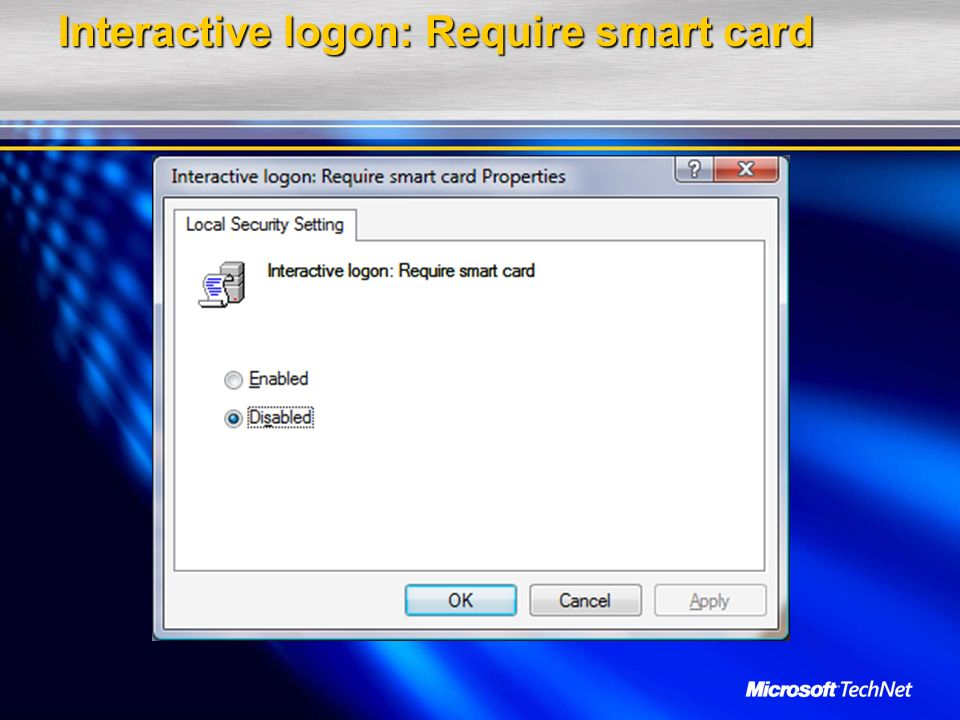 Interactive logon: Require smart card